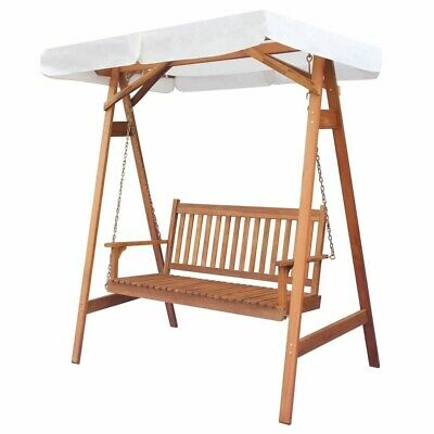 Garden Swing Chair Canopy Bed Seater Wooden Patio Hammock Bench Lounger Swinging