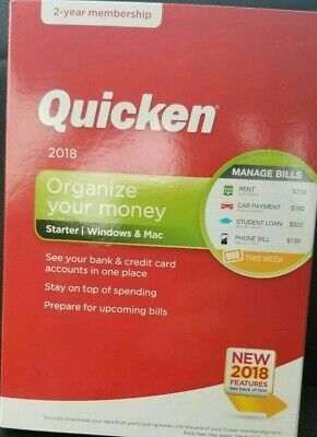 Quicken Starter 2018 2 Year Membership Windows Mac New Sealed