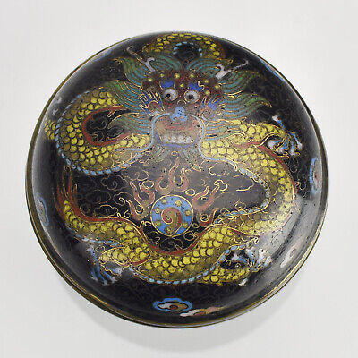 Fine Antique Chinese Qing Dynasty 19th Century Cloisonne Box Imperial Dragon