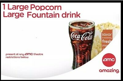 AMC Large Popcorn And Large Fountain Drink Exp. June 30, 2020