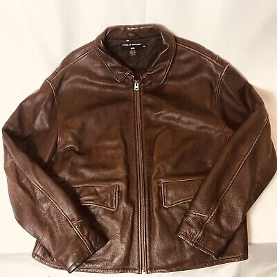 72a2f436a MEN S BROWN POLO Leather Jacket By Ralph Lauren Size