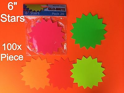 100x MARKET FLUORESCENT CARDS DECORATION PARTY OFFICE FLASH PRICE TAGS DISPLAY