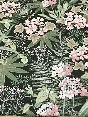 """Vintage Pat Albeck  'Fantasia' Osman Fabric, Green Ground 42"""" x 48"""" with cut-out"""