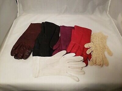 "Vintage 6 pair Woman's LEATHER Gloves Size 6 1/2"" 7"