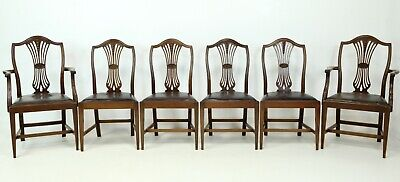 6 Hepplewhite Style Dining Chairs Drop In Seats Mahogany FREE UK Delivery