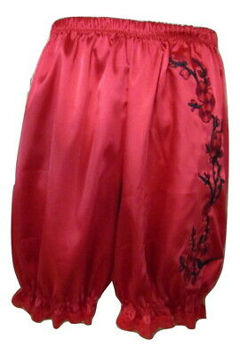 Men's Red Satin Bloomers w/Emb Flowers Knickers Pantaloon Lingerie Sissy Man