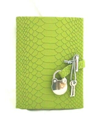 Diary Journal w Lock NEW Leather Python Embossed Lined Pages Silver Leaf Green