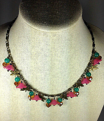 """Handmade Necklace Charm 19"""" Vintage Brass Metal Pink Dragronfly Flower Stone New"""