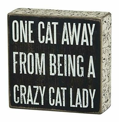 Primitives by Kathy Box Sign, 5-Inch Square, Crazy Cat Lady