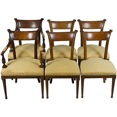Antique Set of Six French Louis Philippe Style Dining Room Chairs Mahogany Wood