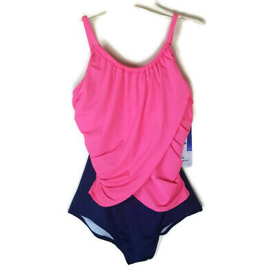 f865ff870f2 Gabar One Piece Bathing Suit Swim Women's size 16 High Neck Maillot Blue  Pink