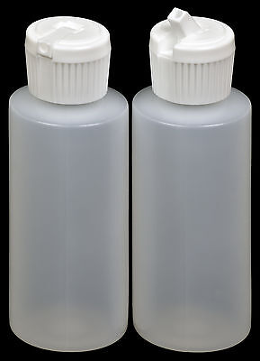 Plastic Bottle w/White Turret Lid, 2-oz., 100-Pack, New