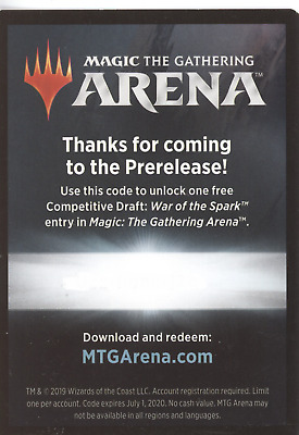 Magic: The Gathering Arena WAR OF THE SPARK Prerelease Competitive Draft Code