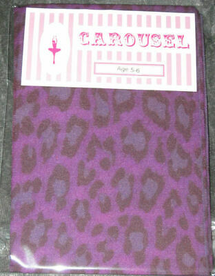 Girls Leopard Footless Tights. Age 5-6 Pink Purple Black