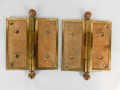 "Vintage Baldwin Brass Door Hinges Round Tip Pair 5.5"" x 5.5""  No. 62"