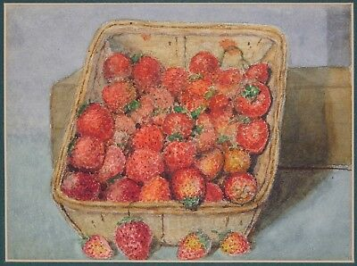 Antique Watercolor Painting Fruit Still Life STRAWBERRIES in Basket Unsigned