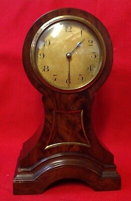 C. 1900 Art Nouveau French Walnut Balloon Mantel Clock, Made In France, Working
