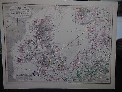 "Antique Map ""Physical Map of the British Isles and the Surrounding Seas,...."