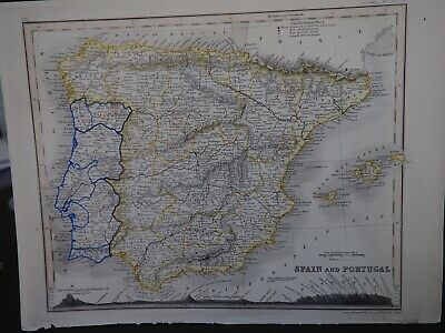 """Antique Map """"Spain and Portugal"""""""