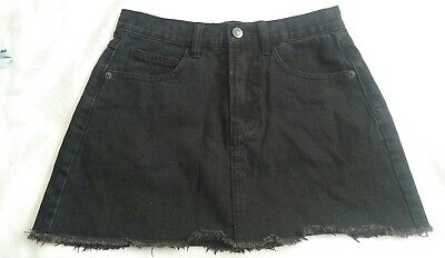 fe2a20529c Brandy Melville Black Jean Denim Zip-up Short Skirt Size Medium Used