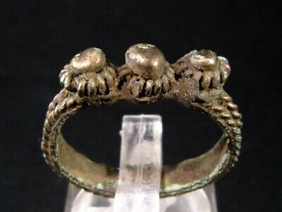 Impressive Decoration Byzantine Silver Plated Ring, As Found+++