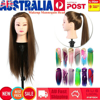 Hairdressing&Makeup Training Practice Mannequin Doll True Human Hair Blond Brown
