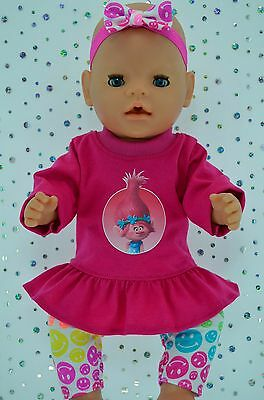 "Play n Wear Doll Clothes To Fit 17"" Baby Born PATTERN LEGGINGS~TOP~HEADBAND"