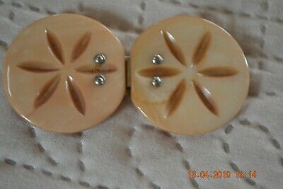Vintage Ivory-colored Mother-of-Pearl Round Belt Buckle
