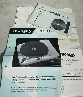 THORENS TD 124 TURNTABLE MANUAL w BROCHURE AND TEMPLATE ORIGINAL WARRANTY CARD