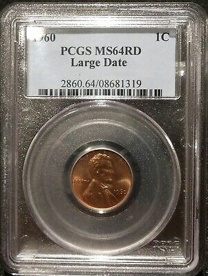 1960 P Large Date Lincoln Memorial Cent Pcgs Ms64Rd Penny One 1960P 1C Ms64 Red