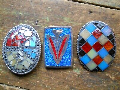 Lot Of 3 Vintage Western Belt Buckles Sparkle Arrowhead & Inlaid Colored Glass