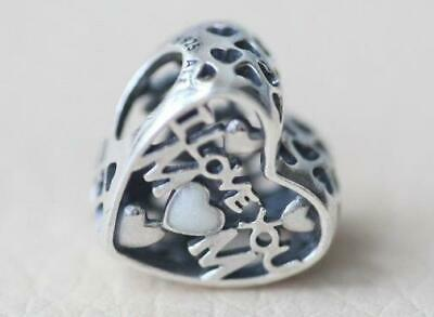 320593a64 Authentic Pandora Silver Charm Bead 💋792067En23 I Love You Mom Mother New  Heart