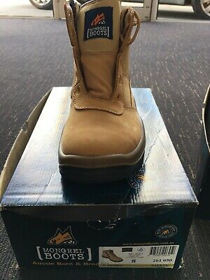 Mongrel 261050 Work Boots Steel Toe Safety Wheat Zip Side Size 8