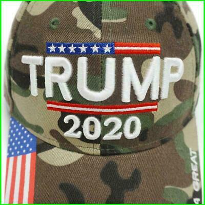 Donald Trump 2020 Hat Mossy Camo w/ American USA Flag Embroidery Baseball Cap jc