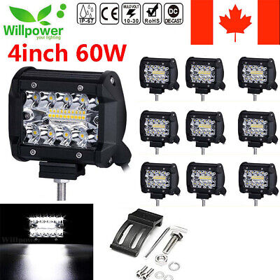 4inch 60W Led Work Light Bar Spot Flood Combo for Offroad Jeep SUV UTE ATV Car
