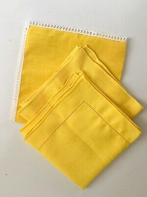 3 Vintage Linen Cloth Napkins Bright Yellow White Edging Large New! Placemat
