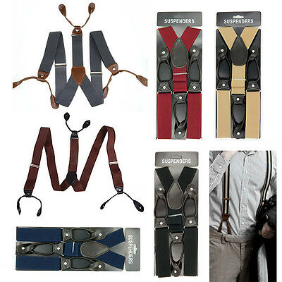 3.5cm Width Mens Suspenders Braces Solid Adjustable 6 Button Hole Leather