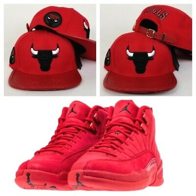 aba2a505 Matching Pro Standard Chicago Bulls Adjastable Strapback Hat for Jordan 12  Red