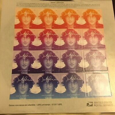 John Lennon USPS 2018 Forever Stamps-Sheet of 16 Stamps-BRAND NEW-MNH-Free Ship