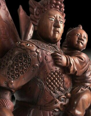 Antique Chinese Carved Three Kingdoms God of War Zhao Zilong Rosewood Statue 趙子龍