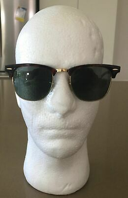 """1970's RAY-BAN Vintage Tort & Black """"Clubmaster"""" Unisex Sunglasses w Green Lens"""