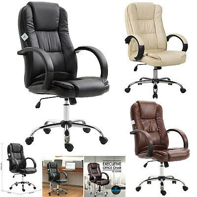 Luxury Computer Manager Executive Office Chair PU Leather Adjustable Swivel High