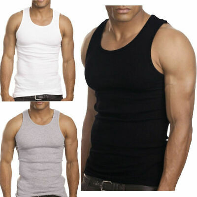 Plus Size Mens Cotton Ribbed Tank Top Wife Beater Sport Gym Athletic Undershirt
