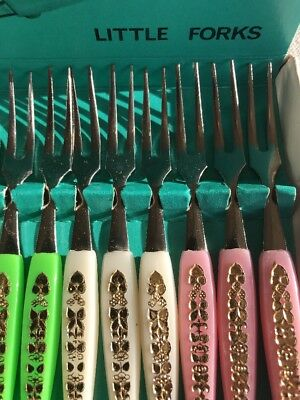 Boxed Set of 12 Vintage/Cocktail Forks 60's/70's, Made in Japan, Stainless Steel