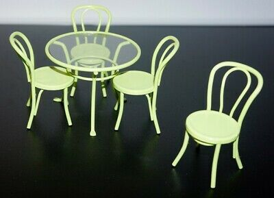 Miniature dollshouse (1:12) green metal bistro table, 4 chairs. Perspex tabletop