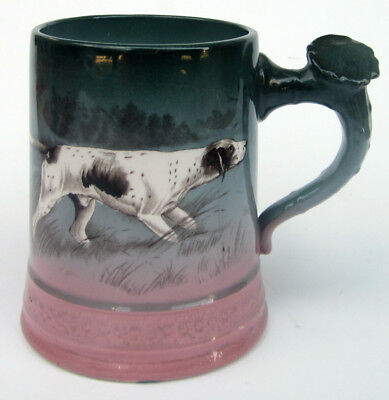Antique Homer Laughlin Art China WHITE PETS Dog Motif Stag Handle Stein / Mug