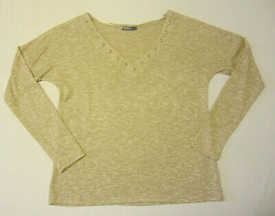 8635d16972778 Superbe Pull In Extenso T 40 Fr Comme Neuf Camel Blanc Clous Argentes Mode  Femme