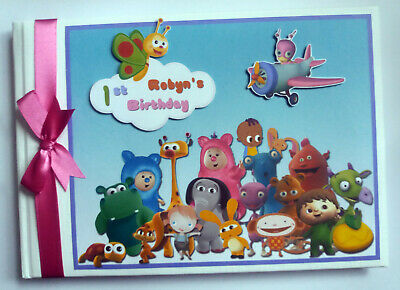 Personalised Baby Tv Characters Birthday Guest Book / Scrapbook