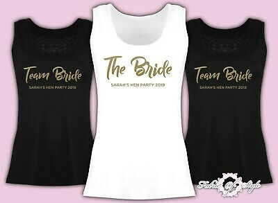 Vest Tank Top Team Bride Hen Do Party Tribe  Personalised T-shirt Ladies Female