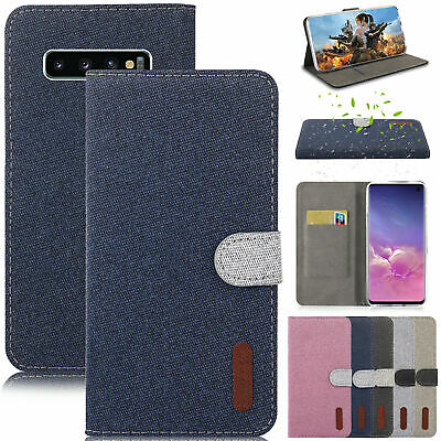 For Samsung Galaxy S10 Plus S8 S9 Case Magnetic Canvas Flip Wallet Stand Cover